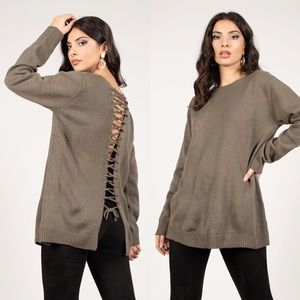 Tobi Shallow Waters Olive Lace Up Sweater